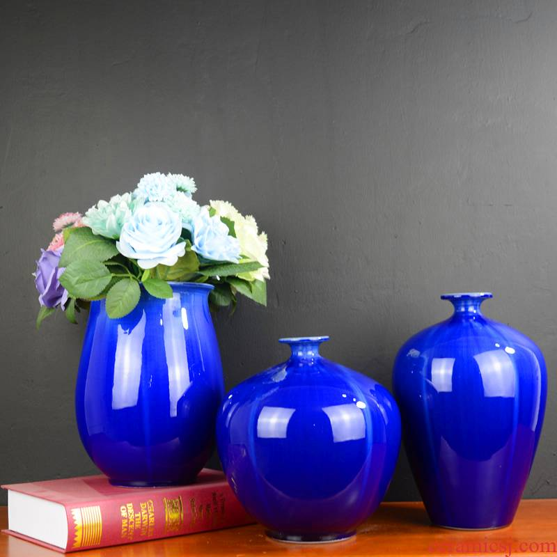 Jingdezhen ceramic blue vase flower arranging home decoration of Chinese style dried flowers flower arrangement sitting room porch decoration furnishing articles