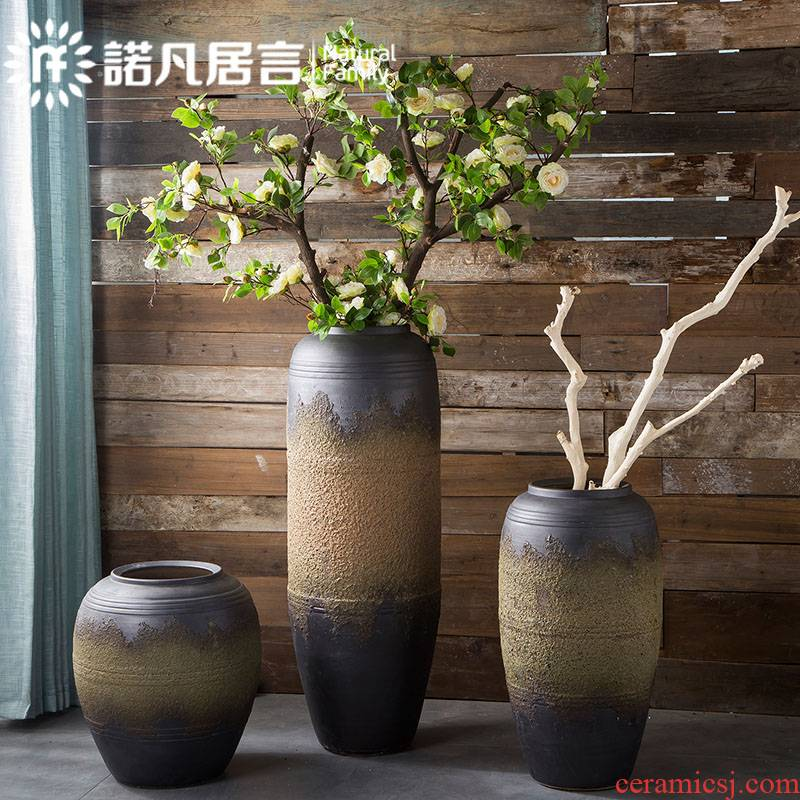 Jingdezhen coarse pottery large vases, ceramic hotel villa clubhouse furnishing articles sitting room ground dried flower arranging flowers European - style decoration
