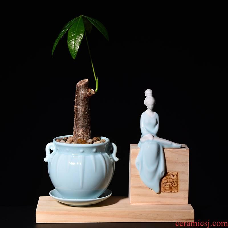 Creative aesthetic fleshy flower pot set of unique American is placed potted celadon green plant zen ladies asparagus pot