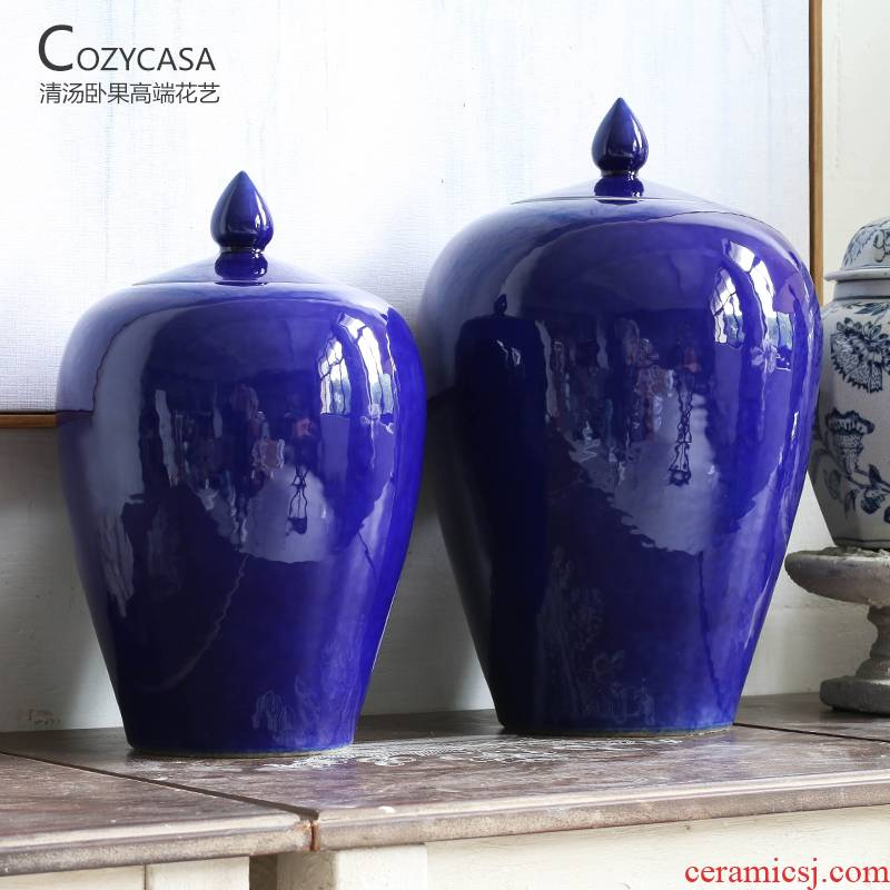 The Clear soup WoGuo jingdezhen ceramic storage tank, the general pot of new Chinese style decoration furnishing articles indigo blue and white porcelain vase