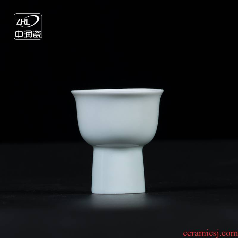 Jingdezhen ceramic cups of household of Chinese style restoring ancient ways wine suits for shadow blue half a small handleless wine cup liquor cup