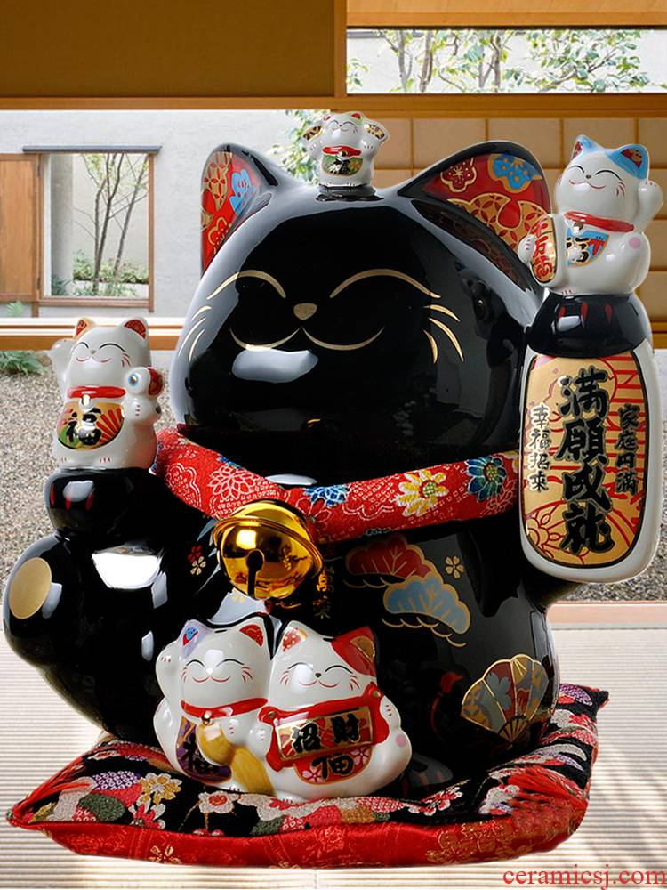 Stone workshop creative store opening gifts large Japanese ceramic storage tank black plutus cat furnishing articles