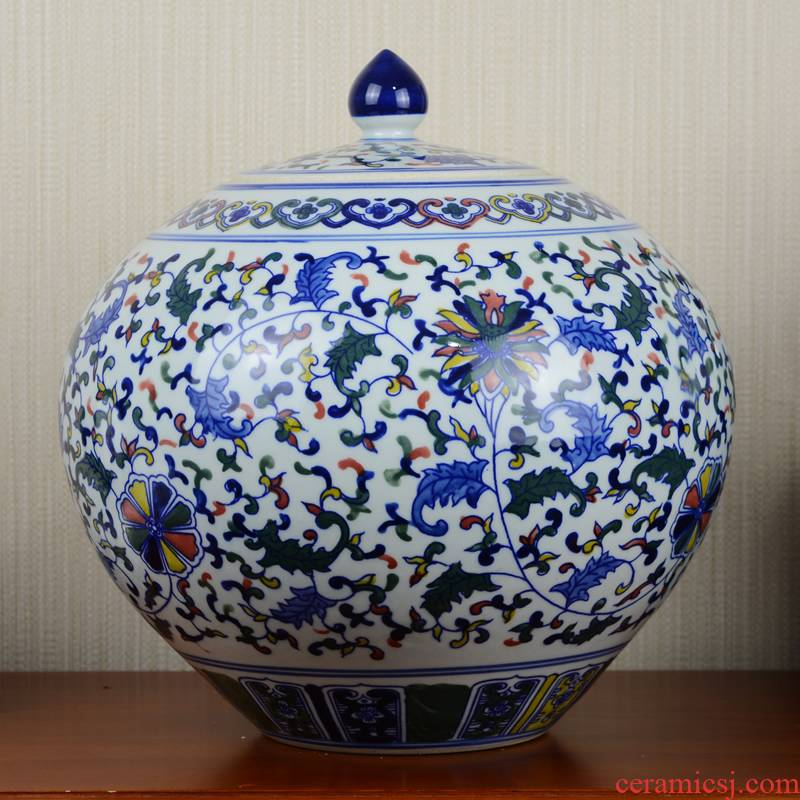 Jingdezhen ceramics sitting room color blue and white porcelain vase general large pot home furnishing articles restoring ancient ways