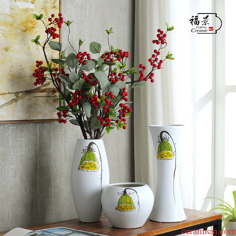 F the view modern new Chinese hand made lotus three - piece ceramic vase household act the role ofing is tasted, the sitting room adornment furnishing articles