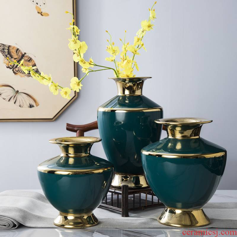 European ceramic vase furnishing articles sitting room dry flower arranging flowers light modern American key-2 luxury home TV ark, hotel decoration