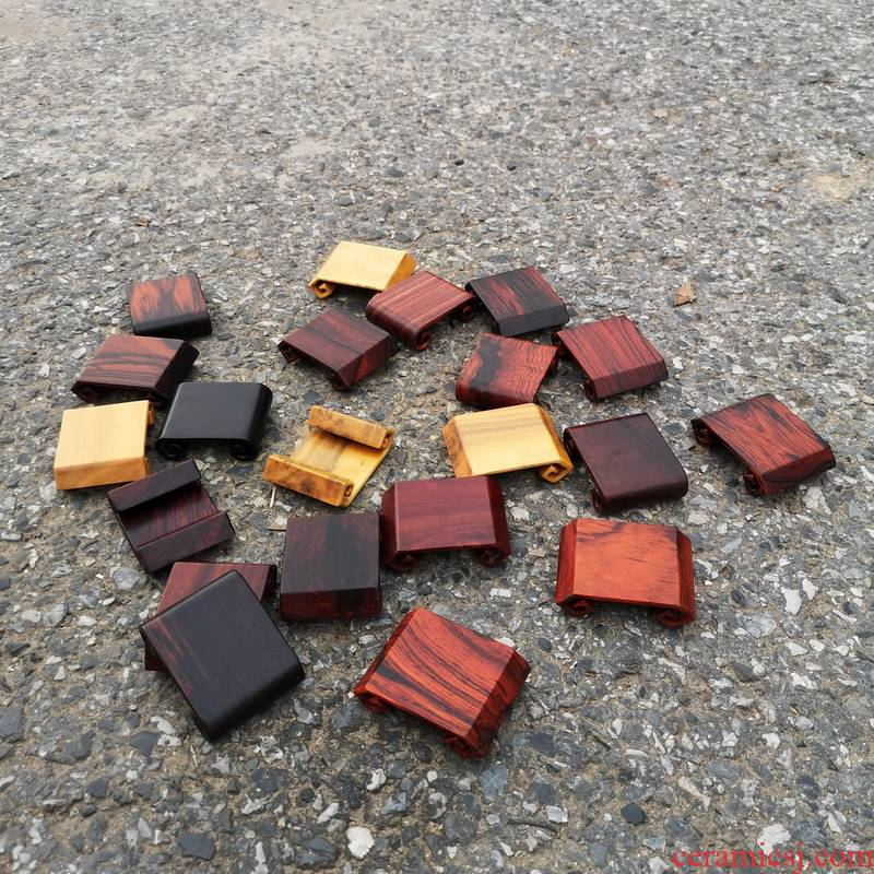 Pianology picking mahogany small base solid wood, red rosewood carving monolith scroll base tea cup bottom bracket
