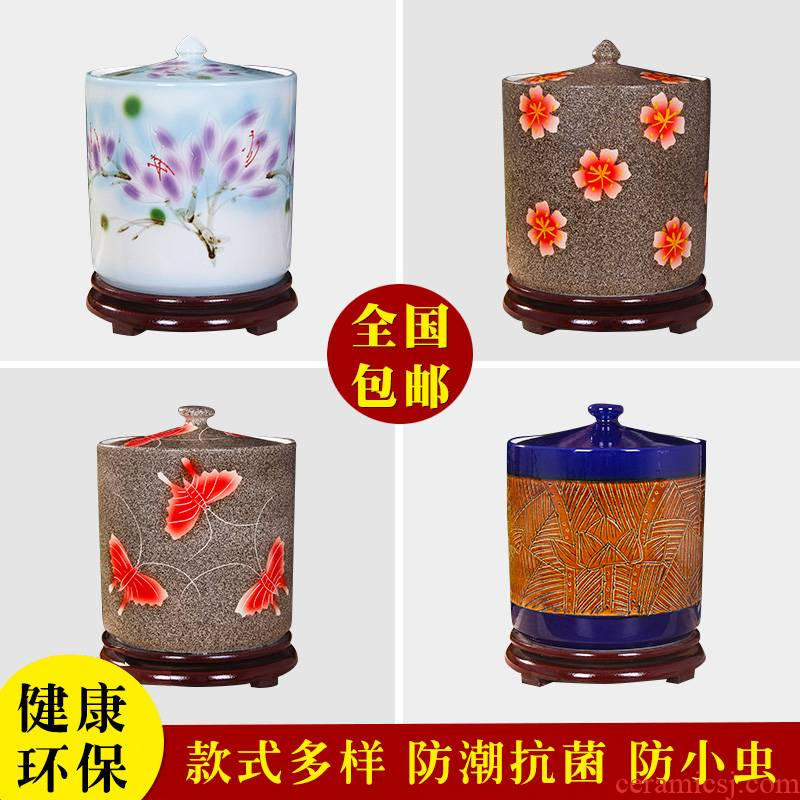 Art spirit of jingdezhen ceramic household barrel ricer box store meter box with cover insect - resistant type seal tank cylinder storage tank