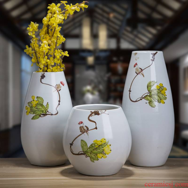 Jingdezhen ceramic dry flower flower vase of new Chinese style living room TV ark, wine home furnishing articles