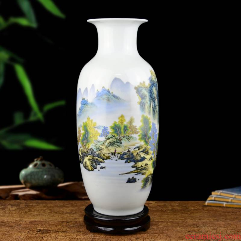 Jingdezhen ceramic pastel landscape painting big vase living room TV cabinet flower arranging hydroponic household soft adornment is placed
