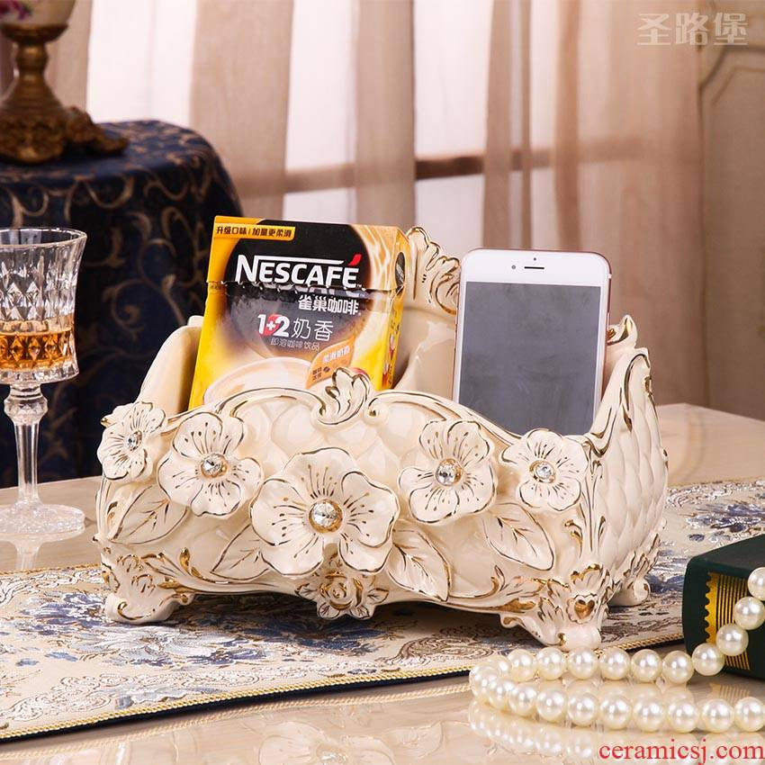 SAN road fort European ceramic multi - function receive a case creative sitting room tea table remote store content box of home decoration