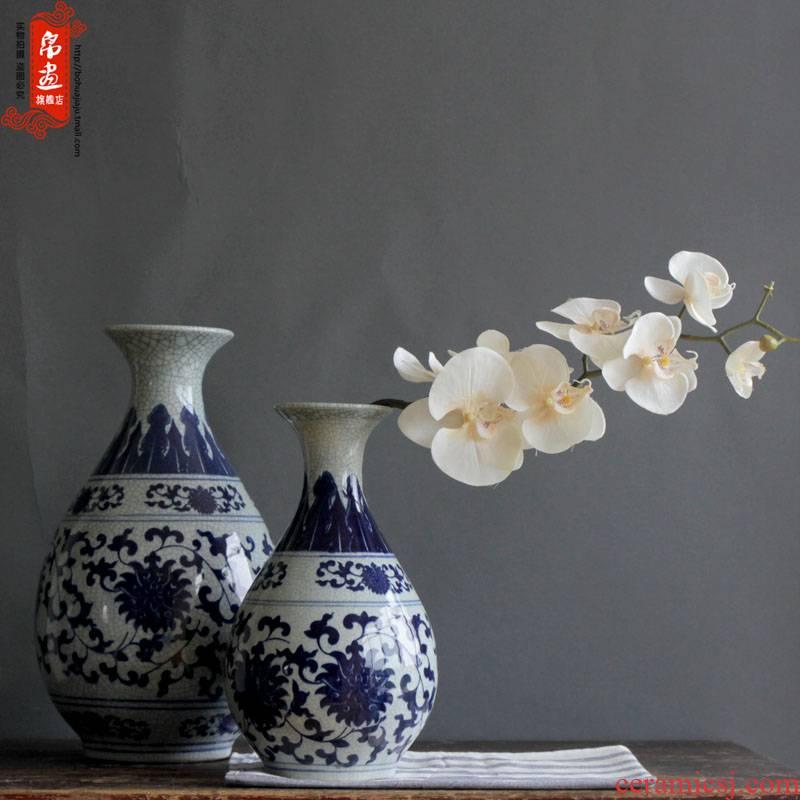 Blue and white porcelain of jingdezhen ceramics flower piece of up crack open living room home decoration flower decoration furnishing articles