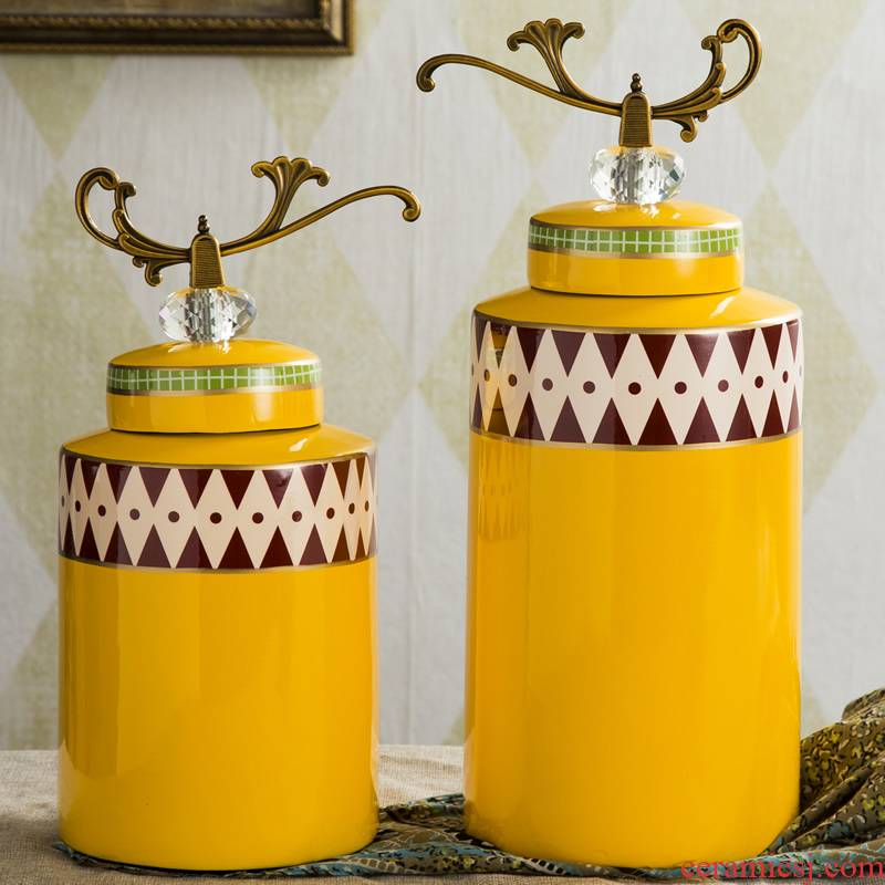 European ceramic decoration tank storage tank furnishing articles American home sitting room general creative as cans of soft adornment ornament