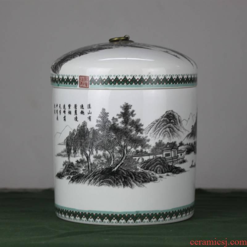 Jingdezhen ceramic large color ink caddy fixings POTS sealed tank receives puer tea cake storage jar storage tanks
