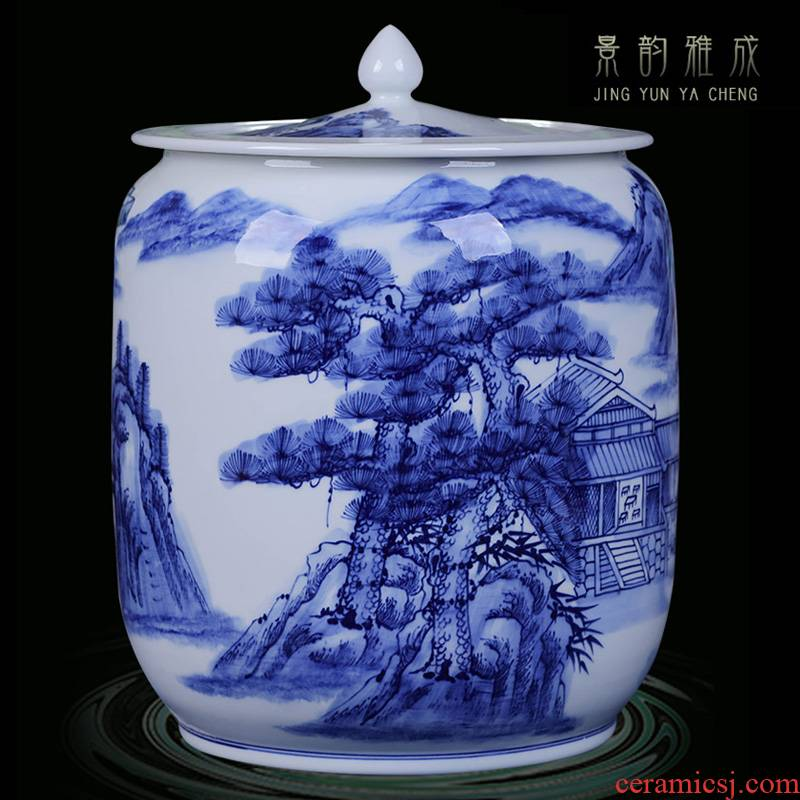 Jingdezhen ceramic storage tank Chinese ceramic pot home outfit receives meters pot dry can of China