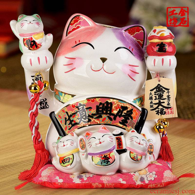 Stone workshop extra large ceramic plutus cat furnishing articles business shop the opened a new housewarming gift