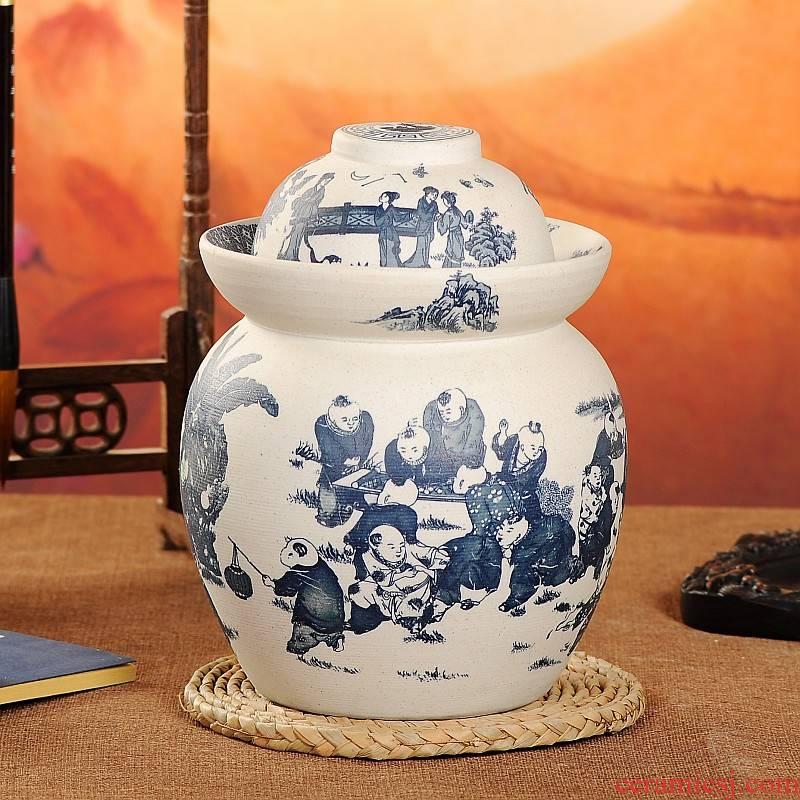 Jingdezhen ceramic double unglazed kimchi storage tank