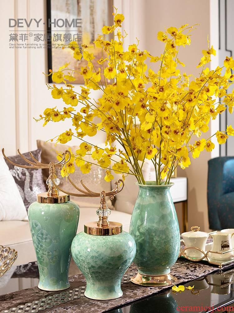 European American light ceramic vase sitting room key-2 luxury furnishing articles, the sitting room porch TV ark, wine home decoration flower arrangement
