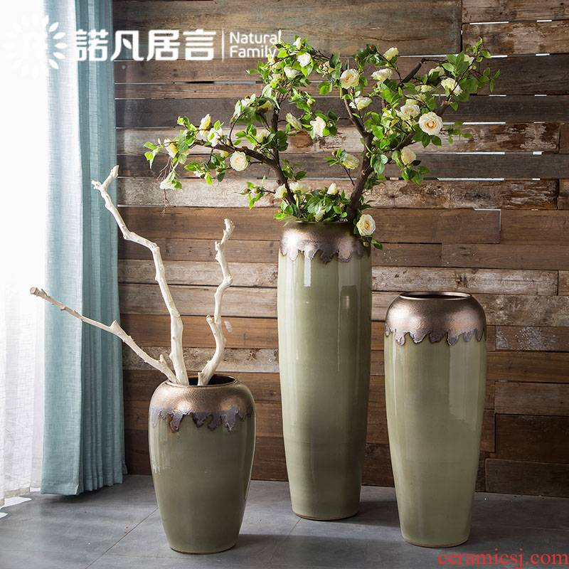 Large ceramic vase coarse pottery flower arranging landing sitting room decoration to the hotel villa clubhouse furnishing articles Europe type restoring ancient ways of creative