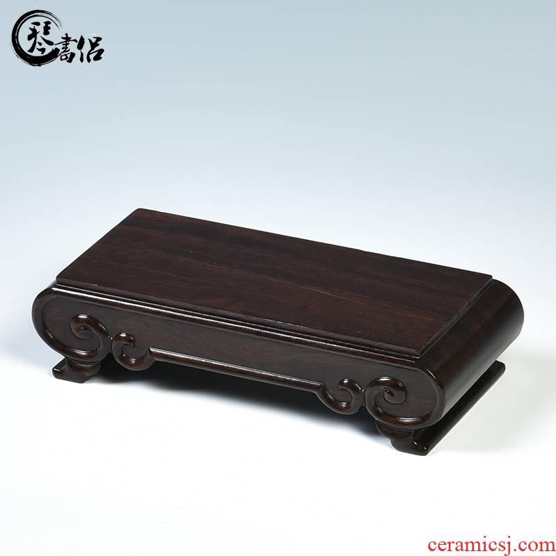 Ebony wood carving handicraft furnishing articles stone base bracket solid wood scroll rectangle base flower miniascape of base