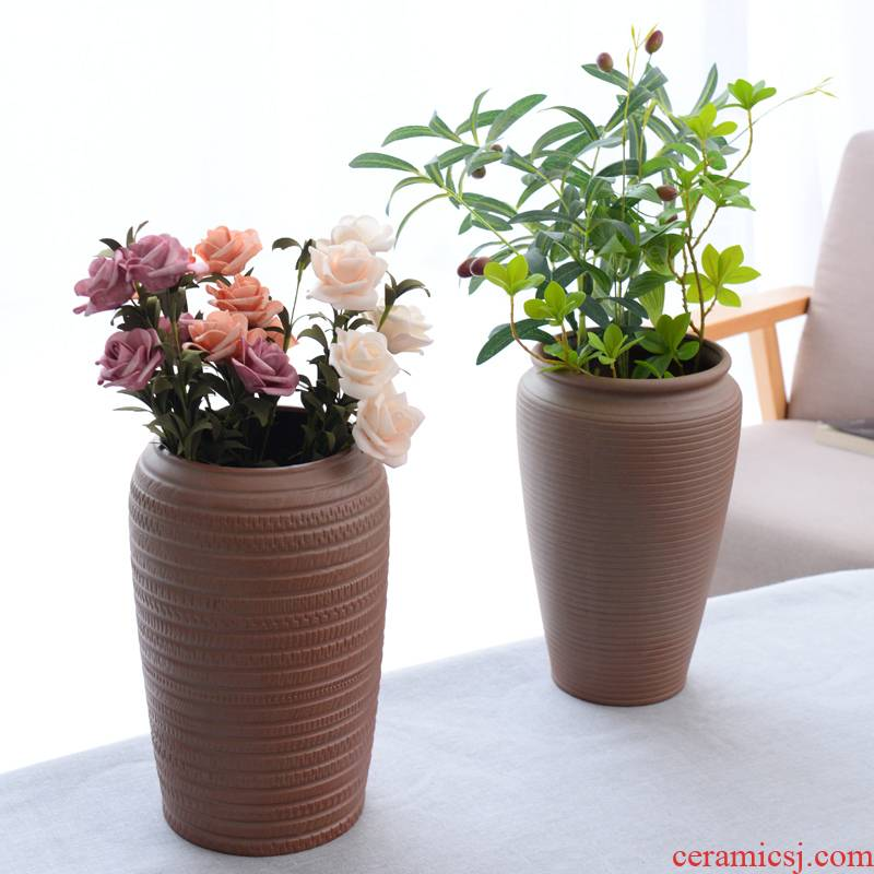 Coarse pottery ceramic vase planting restoring ancient ways is dried flowers sitting room zen flower arrangement home decoration wood, ceramic flower implement furnishing articles