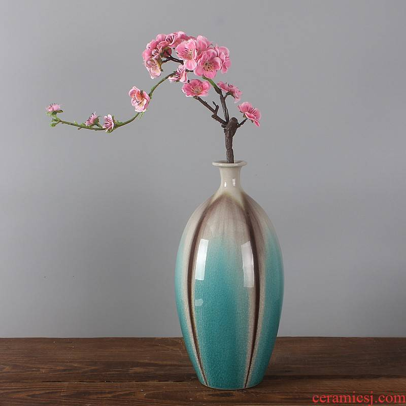 Jingdezhen malachite green glazed pottery up crack glaze art porcelain vase modern porcelain ornaments furnishing articles