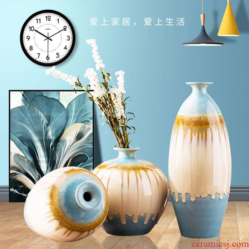 Contracted home sitting room ark adornment furnishing articles pottery three - piece decoration porcelain vase room decoration move
