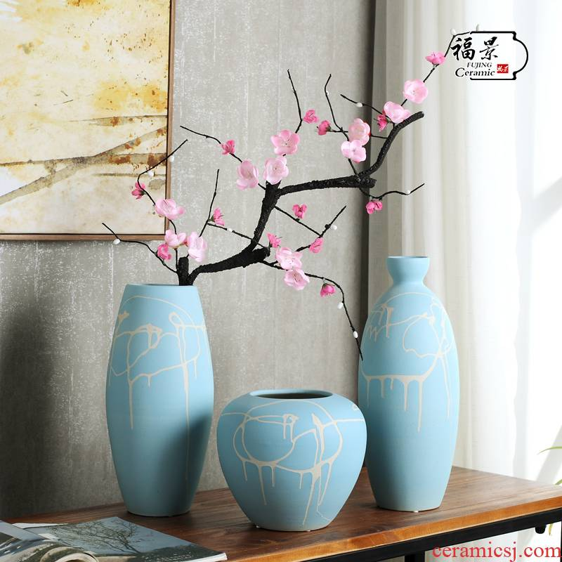 Home decoration vase furnishing articles adornment TV ark of tea table decorate the Chinese style decoration three - piece ceramic vase