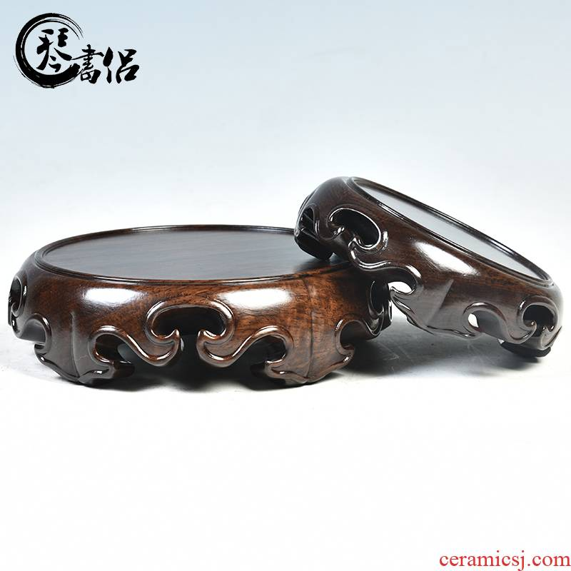 Incense buner base solid wood round base wooden furnishing articles, stone Buddha vase flowerpot handicraft base the teapot