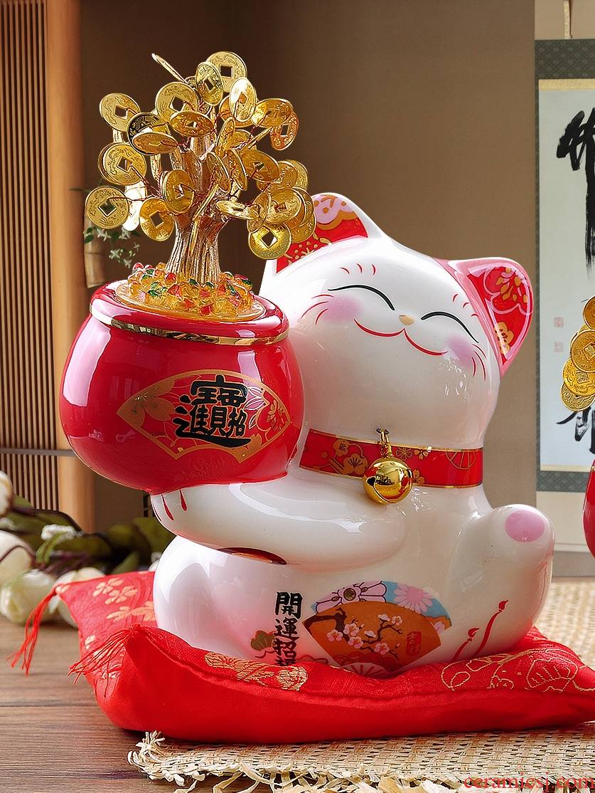 Stone workshop plutus cat furnishing articles store household wealth cash cow ceramic piggy bank piggy bank opening gifts
