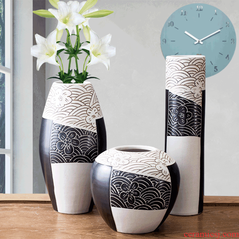 Ceramic vase furnishing articles three - piece suit I and contracted sitting room ground Ceramic flower arranging flower art decoration creative decorations