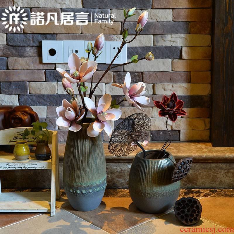 Ceramic vase sitting room hotel home furnishing articles coarse pottery contracted style restoring ancient ways of creative zen decoration in dried flowers