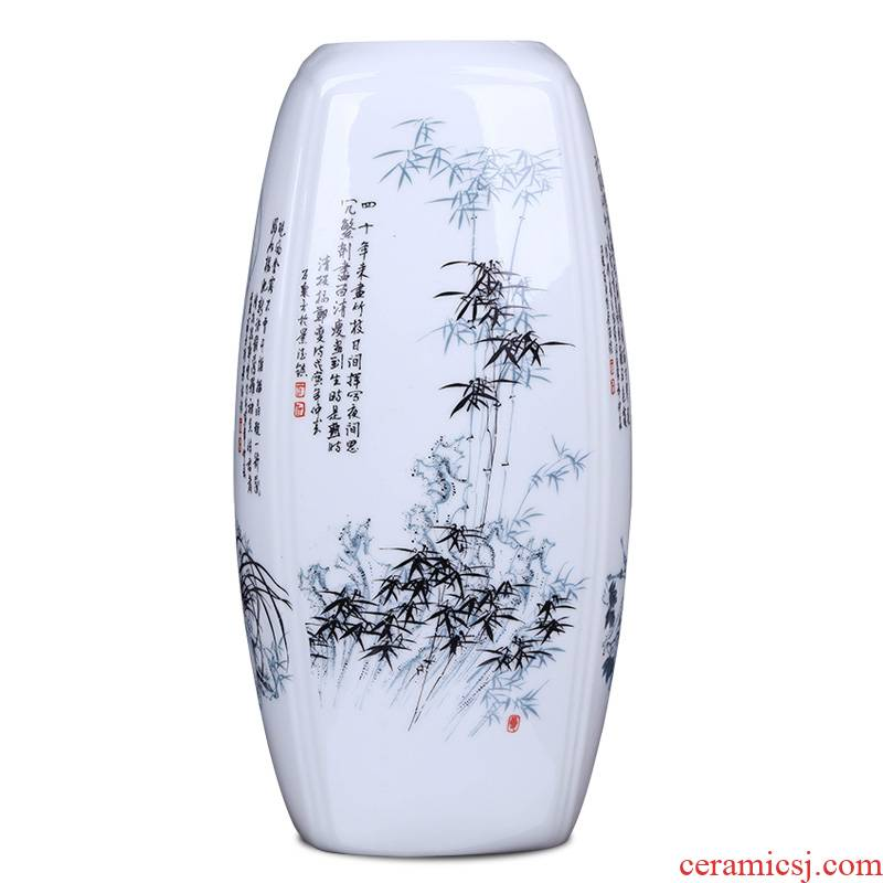 Jingdezhen ceramic vase household of Chinese style living room bookcase hydroponic furnishing articles I and contracted three - piece arranging flowers