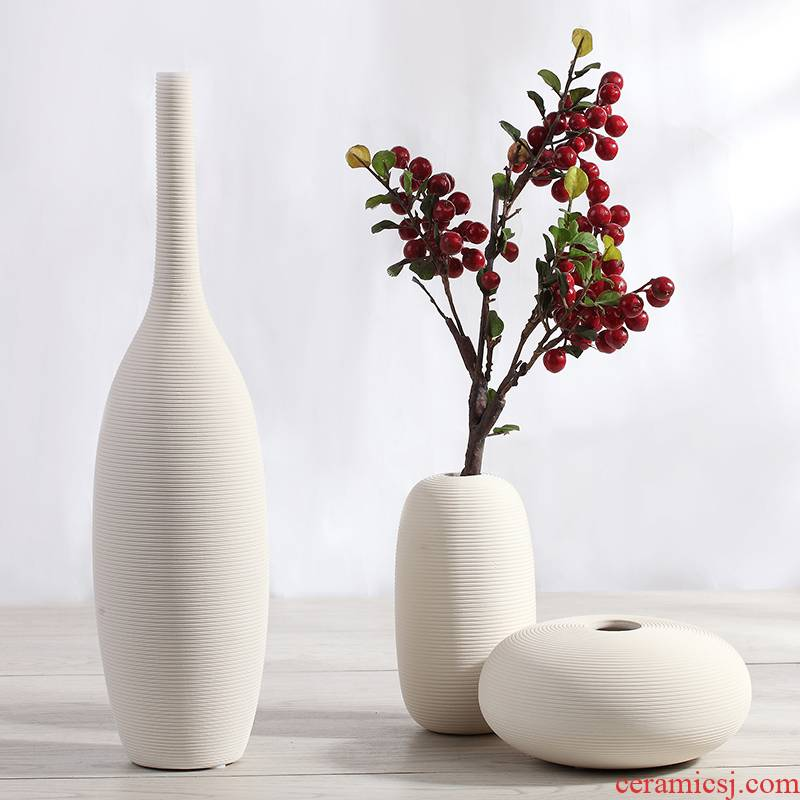 Jingdezhen ceramic creative contracted sitting room white vase dry flower, flower art TV cabinet table decorations furnishing articles