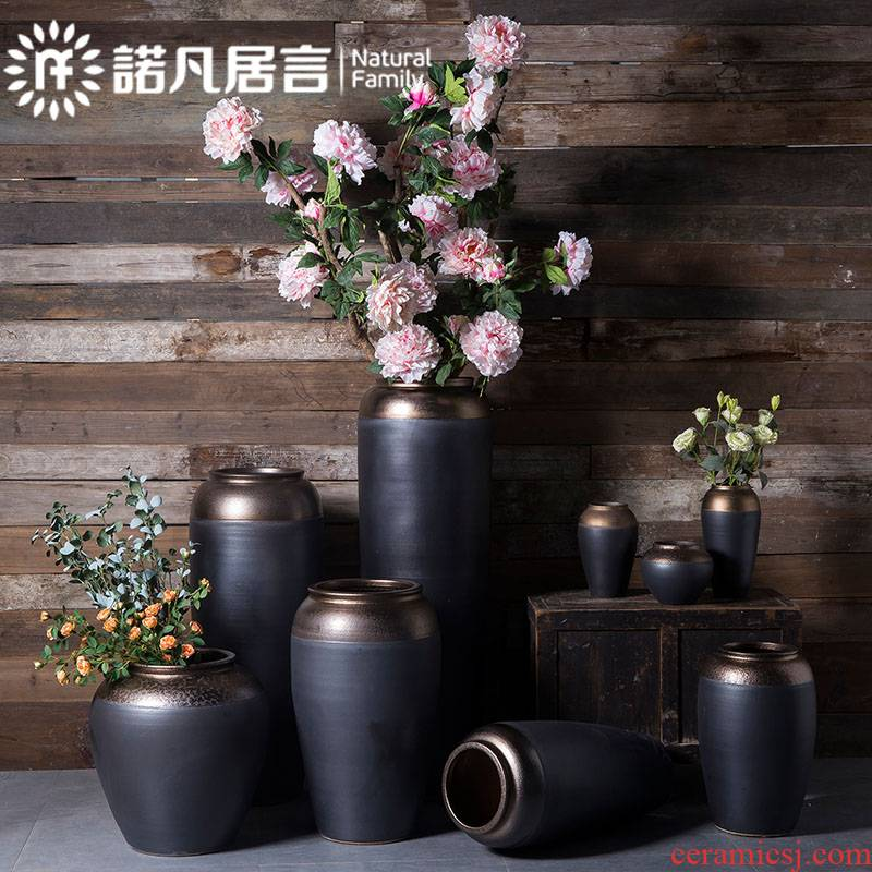 Jingdezhen ceramics vase furnishing articles flower arrangement sitting room ground POTS to I and contracted Europe type black gold ornament
