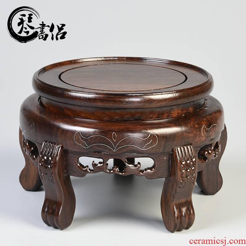 Solid wood sword fish tank base cylinder vase bonsai base circle of Buddha base household act the role ofing is tasted furnishing articles base frame