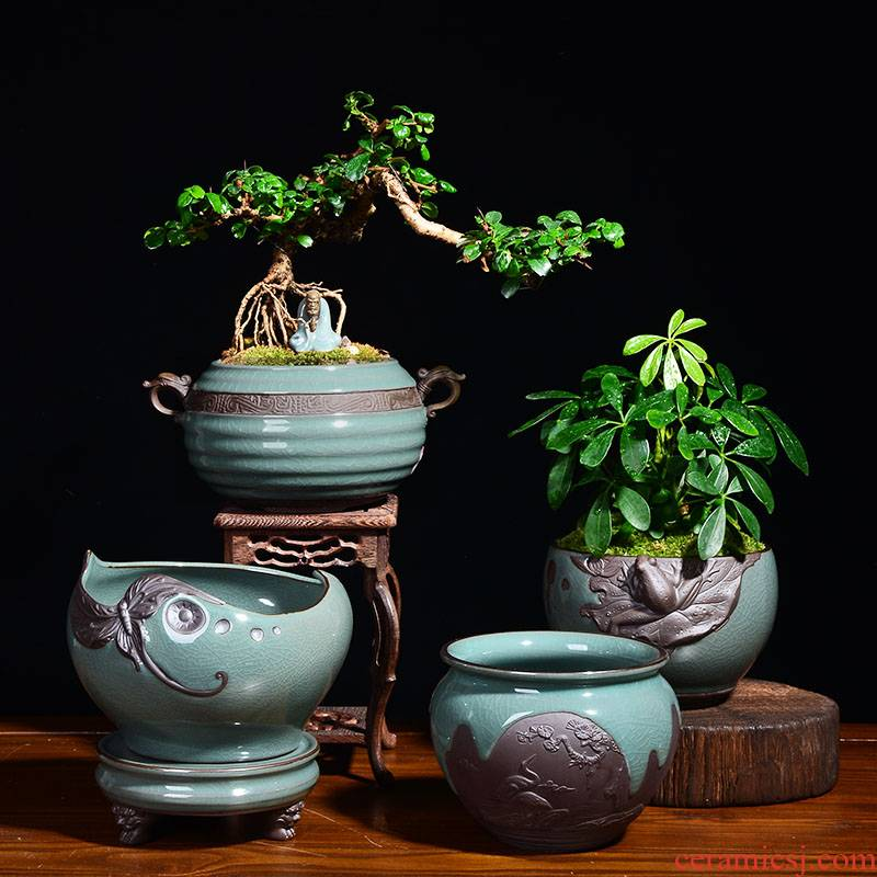 YOU creative green plant bonsai money plant flower pot ceramic wholesale Chinese wind indoor violet arenaceous basin of chlorophytum big tray