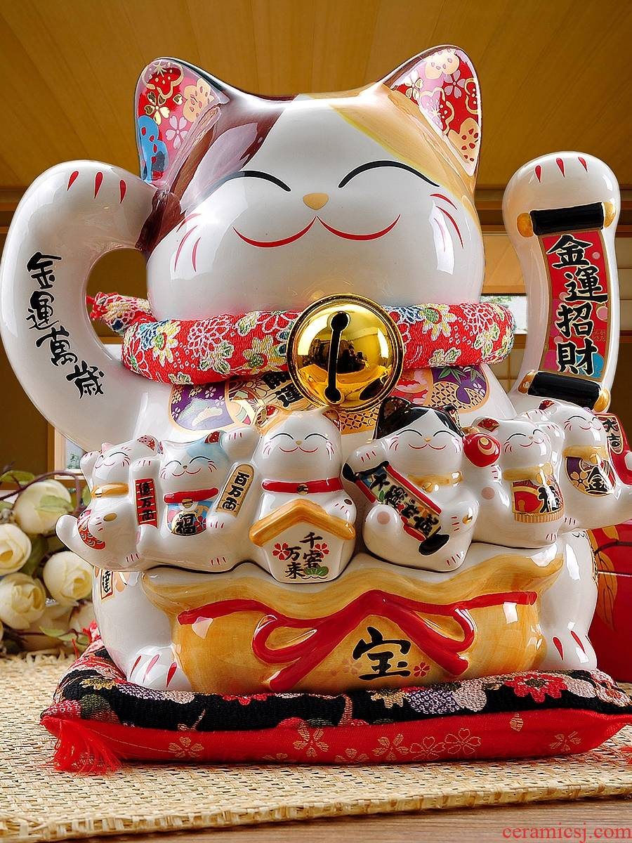 Stone workshop electric wave plutus cat furnishing articles large ceramic rich household store opening creative gifts