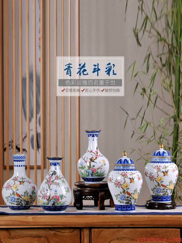 Jingdezhen blue and white color bucket vases, flower arranging device simulation ceramics dried flowers sitting room adornment of new Chinese style household furnishing articles