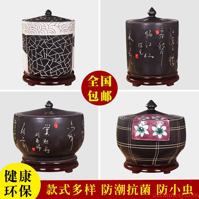 Jingdezhen kitchen household ceramic barrel storage bins with cover insect - resistant type seal tank cylinder storage tank