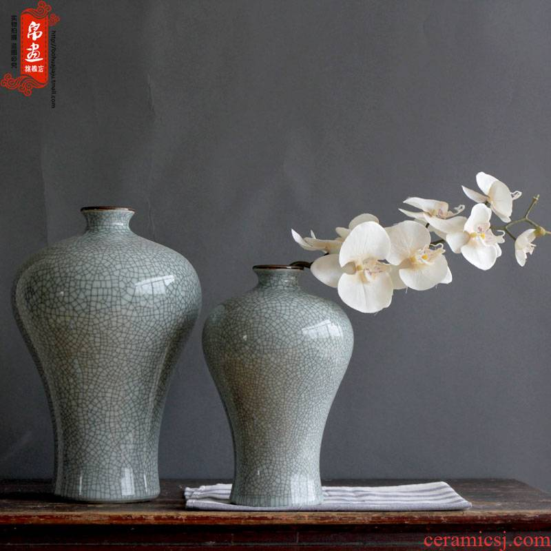Jingdezhen ceramic dark antique piece of flowers in the sitting room the bedroom of crack open TV ark, home decoration flower implement furnishing articles