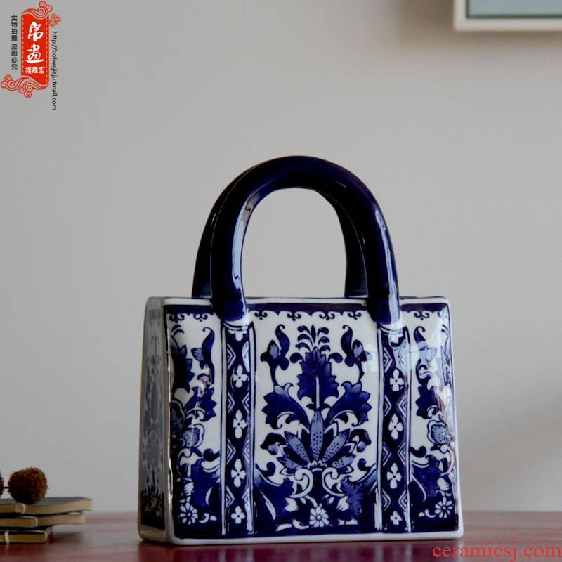 Porch is the key to the receive furnishing articles of jingdezhen ceramic housing, desktop sitting room adornment blue and white porcelain vase flower arrangement