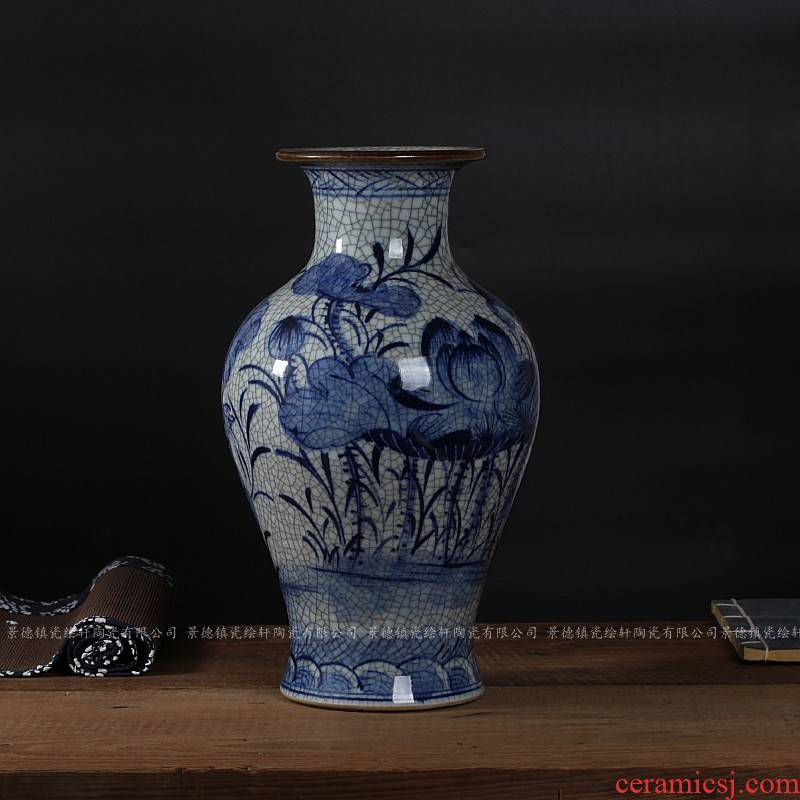 Jingdezhen ceramics antique piece of crack open bottle green lotus classical modern home act the role ofing is tasted furnishing articles in the living room