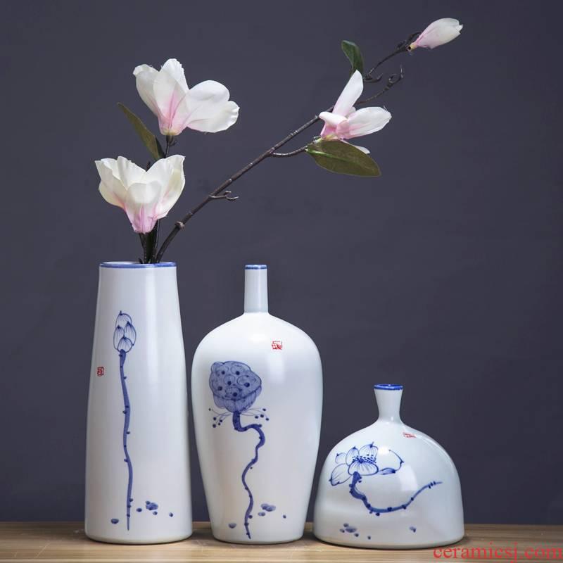 Jingdezhen chinaware lotus flower vase three - piece suit of new Chinese style living room zen flower arrangement home furnishing articles