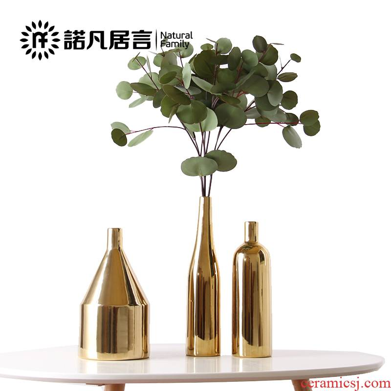 Nordic ceramic golden vase mesa sitting room decoration to the hotel villa dried flower arranging flowers furnishing articles contracted creative fashion