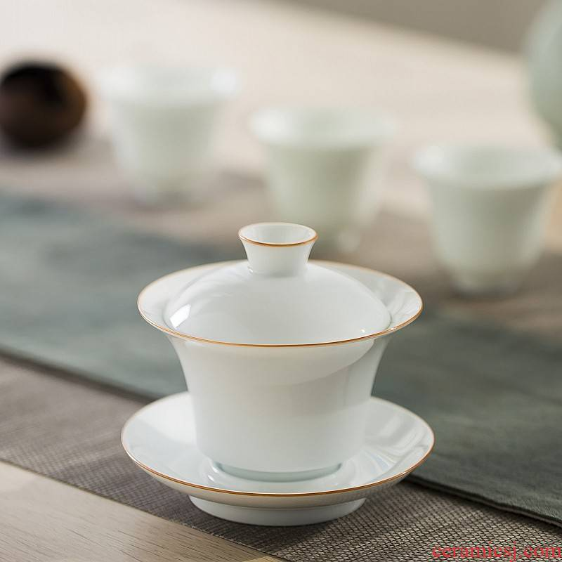Sweet white glaze jingdezhen manual tureen them kung fu tea bowl thin body three cups tureen large