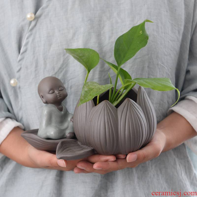 Violet arenaceous water raise small zen monk hydroponic container other copper wire grass desktop furnishing articles, fleshy white ceramic POTS