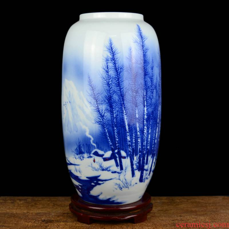 Jingdezhen ceramics celebrity hand - made big sitting room rich ancient frame of new Chinese style household vase flower adornment furnishing articles