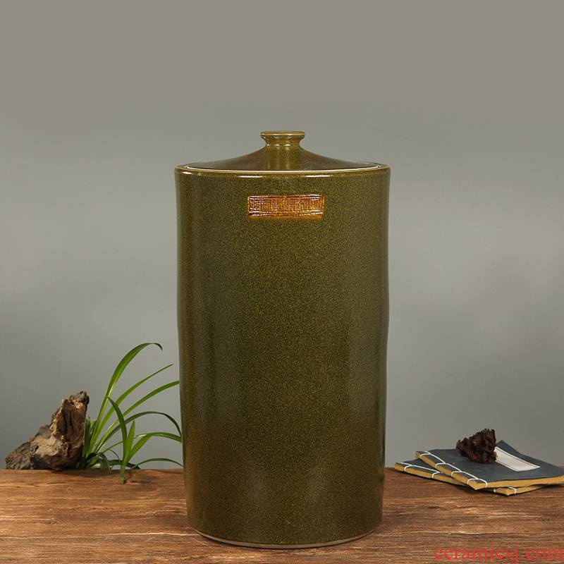 Jingdezhen household moistureproof ceramic cylinder barrel ricer box 20 jins of 50 kg of the packed with cover cylinder tank rice storage tank