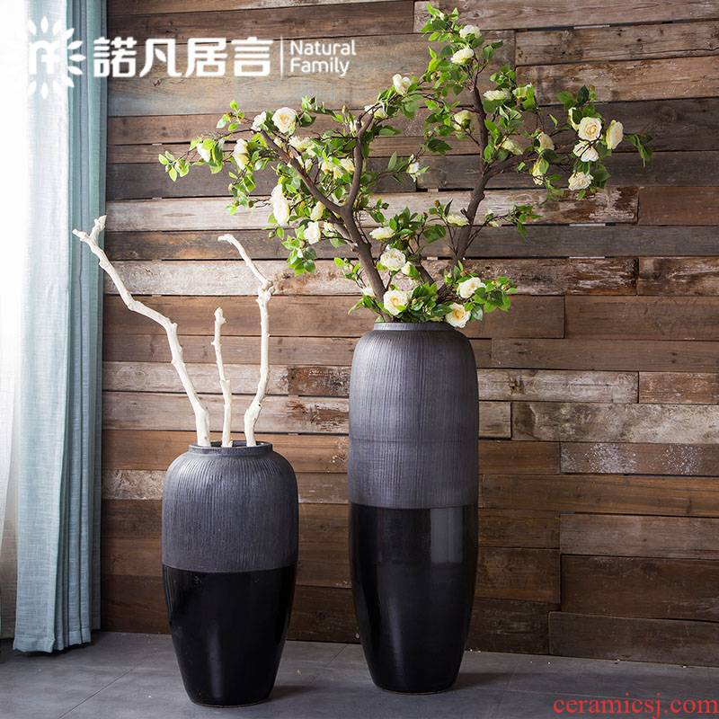 Large ceramic vase hotel villa clubhouse new Chinese flower arranging dried flowers sitting room place retro creative decoration decoration