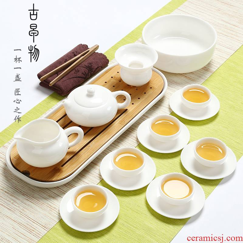 Dehua white porcelain kung fu tea set suit household jade porcelain teapot teacup of a complete set of ceramic tea tureen office gift box